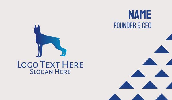 boxer - Blue Boxer Dog  Business card horizontal design