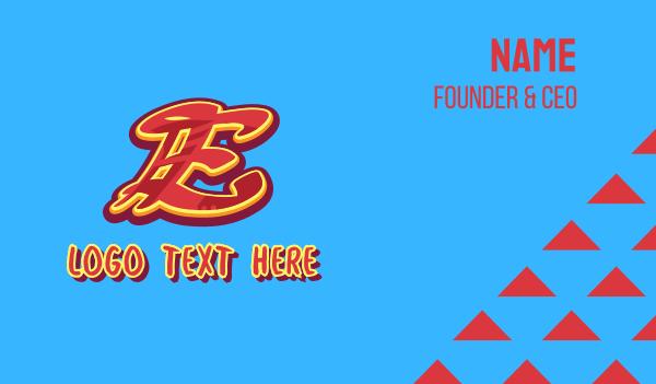 letter e - Graffiti Art Letter E Business card horizontal design