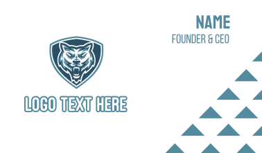 Blue Wolf Shield Mascot Business Card