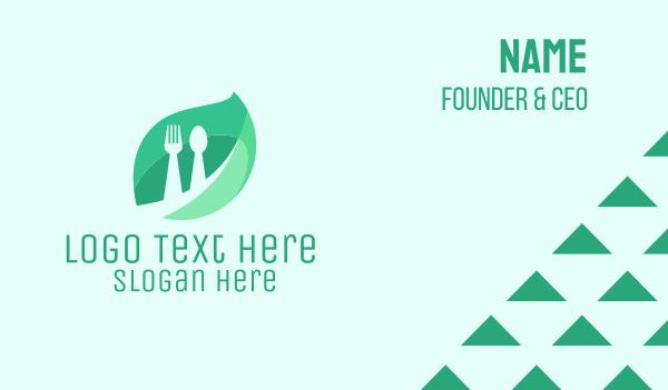 green spoon - Leaf & Food Cutlery Business card horizontal design