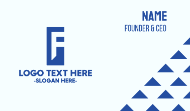 Generic Blue Letter F Business Card