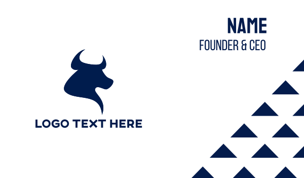 el matador - Blue Bull Head Business card horizontal design