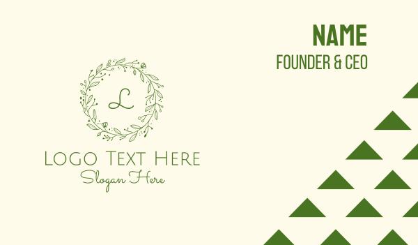 tea house - Green Floral Wreath Lettermark Business card horizontal design