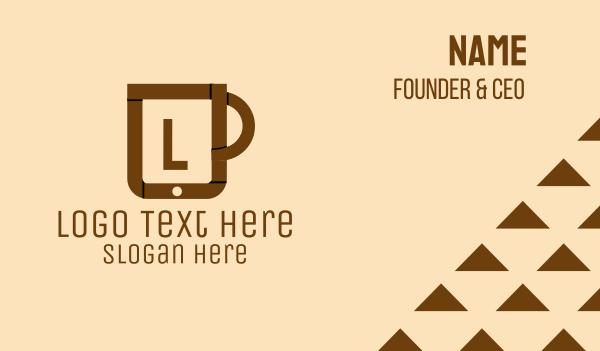 caffeine - Online Coffee Cup Business card horizontal design
