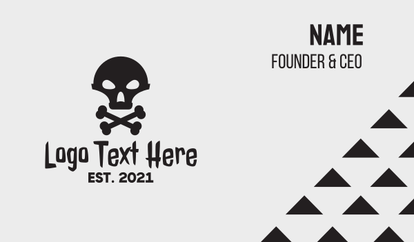 hacker - Alien Skull & Crossbones Business card horizontal design