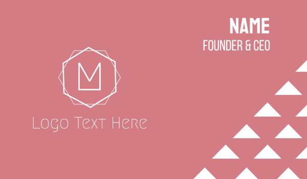 pink girl - Minimalis M Emblem Business card horizontal design