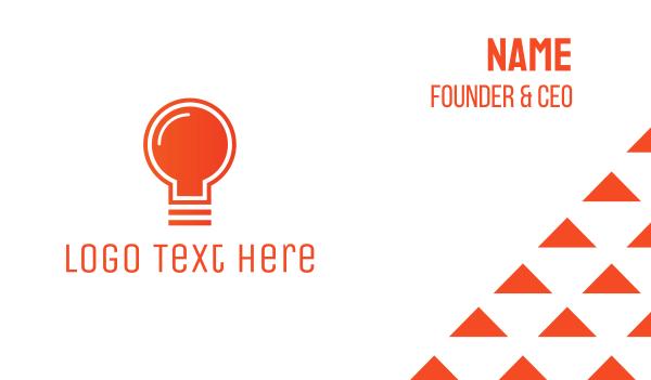 think tank - Orange Light Bulb Business card horizontal design