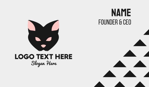 gothic - Halloween Black Cat Business card horizontal design