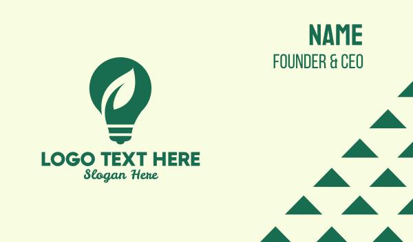 clean energy - Green Eco Friendly Lightbulb Business card horizontal design