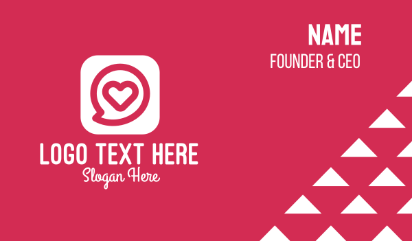 telehealth - Heart Chat App Business card horizontal design