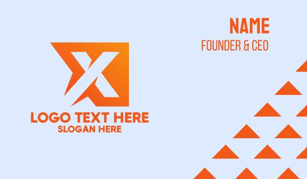 manufacturing - Generic Orange Letter X Business card horizontal design