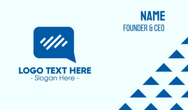 consultation - Blue Bars Chat App Business card horizontal design