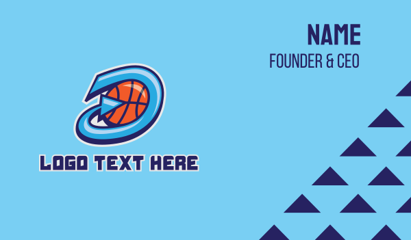 basketball equipment - Basketball Team Letter D  Business card horizontal design