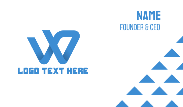 company identity - Blue W Swoosh Brand Business card horizontal design