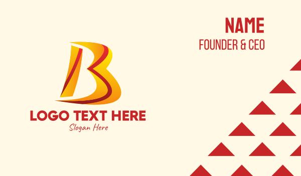 media company - Orange Red Letter B  Business card horizontal design