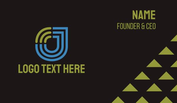 it expert - Wifi Letter J Tech Business card horizontal design