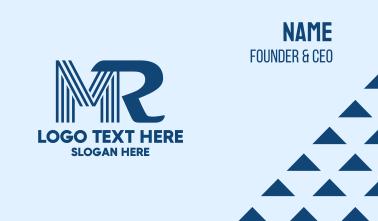 Blue Monogram M & R Business Card