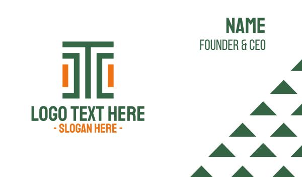 tradition - Modern Stroke Pattern Letter T Business card horizontal design