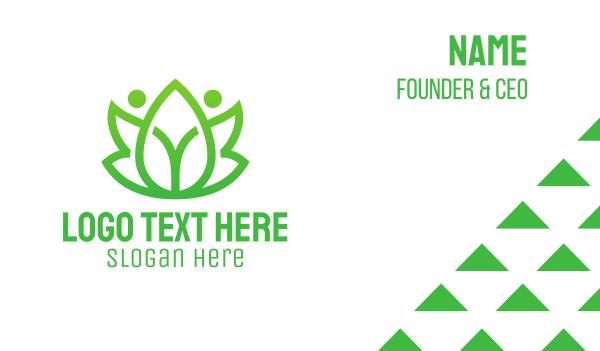 leisure - Green Leaf People Business card horizontal design