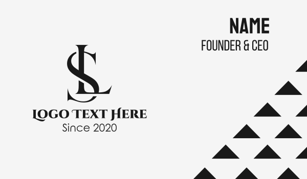 fashion industry - Black Elegant SL Monogram Business card horizontal design