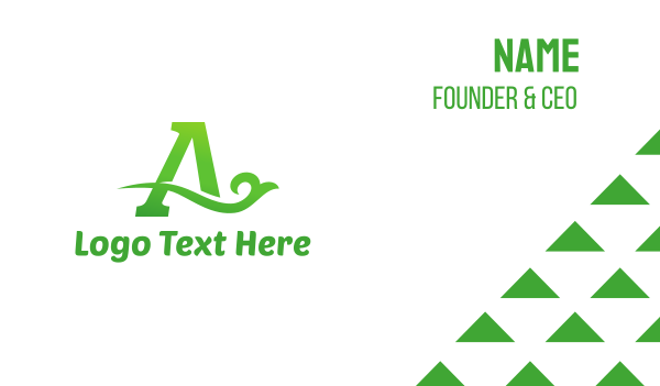 twig - Green Eco Letter A Business card horizontal design