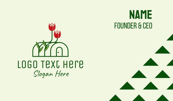 green thumb - Flower Greenhouse  Business card horizontal design
