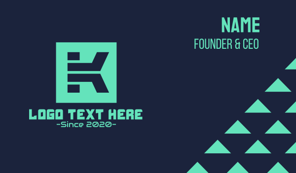 Digital Square Letter K Business Card