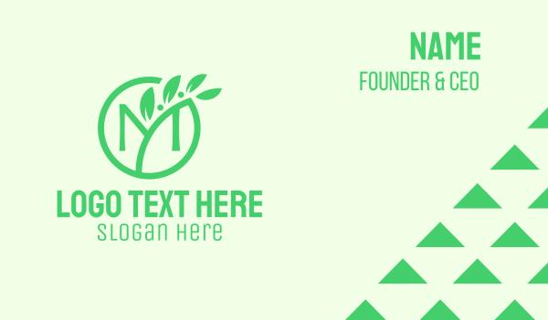 traditional medicine - Green Organic Plant Letter M Business card horizontal design