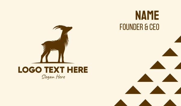 ibex - Brown Mountain Goat Animal Business card horizontal design