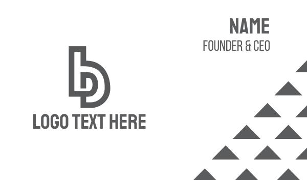 social network - Grey B Outline Business card horizontal design