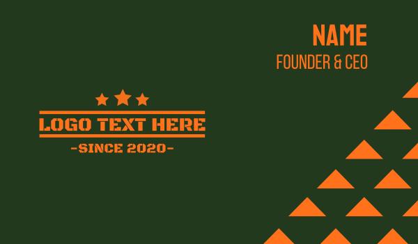 barracks - Army Orange Text Business card horizontal design