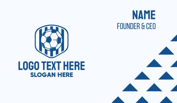 soccer championship - Blue Soccer Ball Business card horizontal design