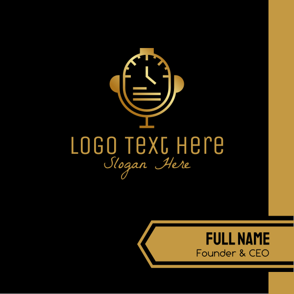 Gold Watch Microphone Business Card