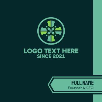 Cross Pattern Leaf Mosaic Business Card