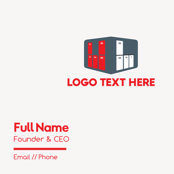 Red & White Lockers Business Card