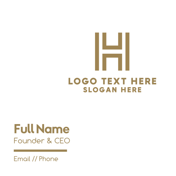 Golden Letter H Business Card