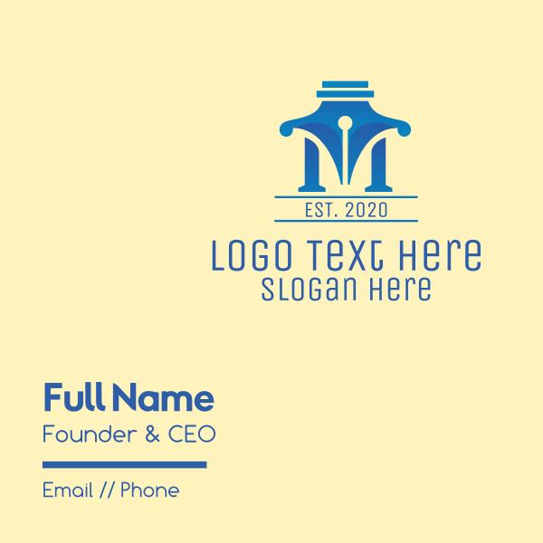 Pen Letter M Business Card