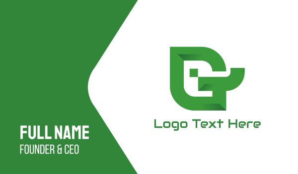 company identity - Polygon G Leaf Business card horizontal design