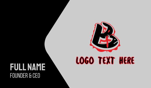 bullet hole - Splatter Graffiti Letter B Business card horizontal design