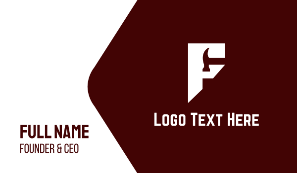 carpentry - Geometrical F Hammer Logo Business card horizontal design