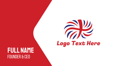 British Flag Feather  Business Card