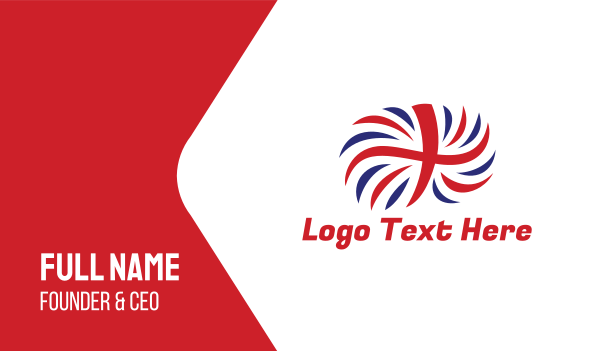 uk - British Flag Feather  Business card horizontal design