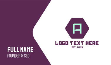 Gaming Letter A Business Card