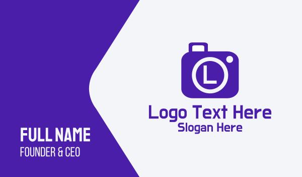 camera shutter - Violet Camera Lettermark Business card horizontal design