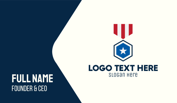 recognition - Stars And Stripes Medal Business card horizontal design
