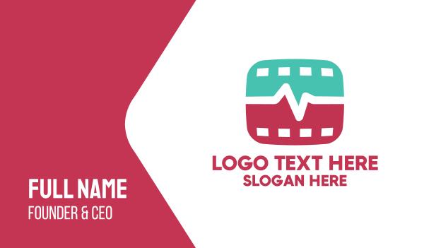 respiratory - Medical Heartbeat Film Video Business card horizontal design