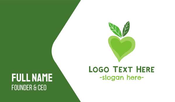 nutritionist - Green Love Business card horizontal design
