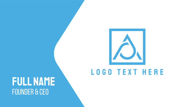blue triangle - Blue Letter A  Business card horizontal design