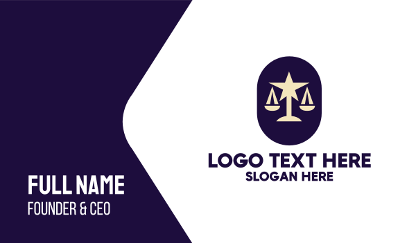 gold star - Legal Lawyer Scales Star Business card horizontal design