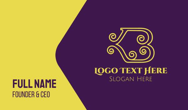 high quality - Elegant Curl Letter B Business card horizontal design